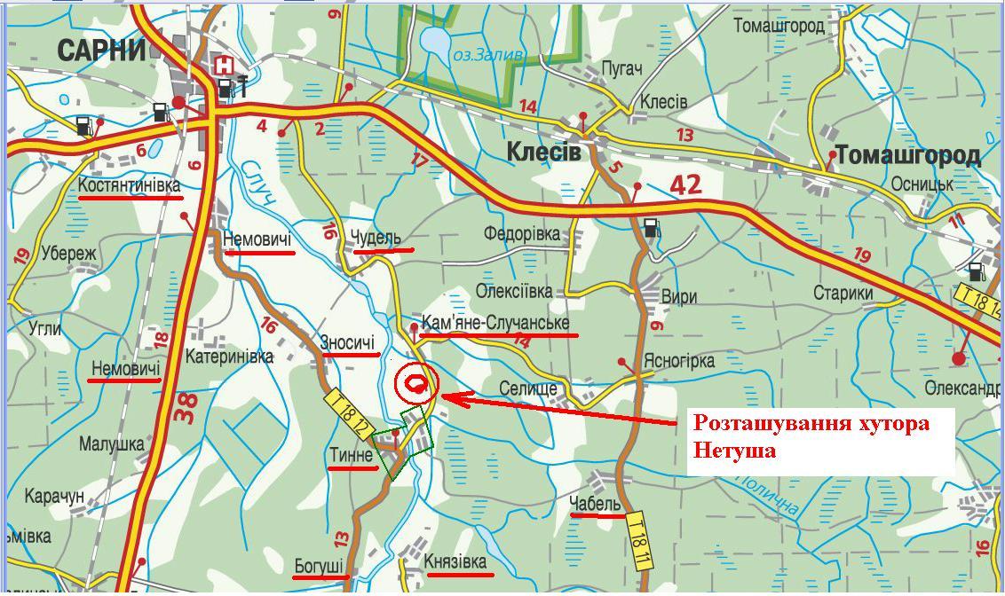 мапа місця хутора Нетуша